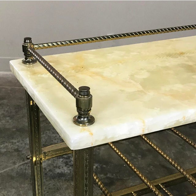 Brass Mid-Century Brass & Marble Wine Serving Table For Sale - Image 7 of 11