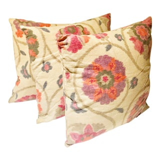 Indah Ikat Decorative Throw Pillows - Set of 3 For Sale