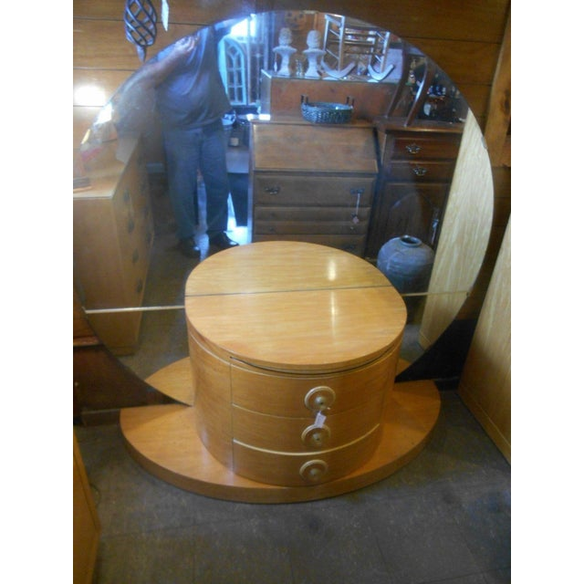 1930's Vintage Art Deco Vanity Table With Moon Mirror For Sale - Image 5 of 10