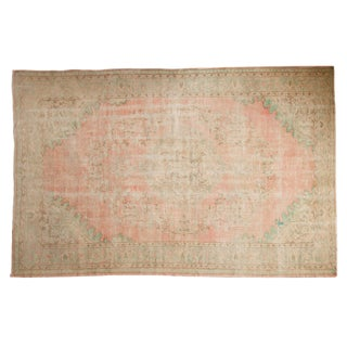 "Vintage Distressed Oushak Carpet - 7' X 10'8"" For Sale"