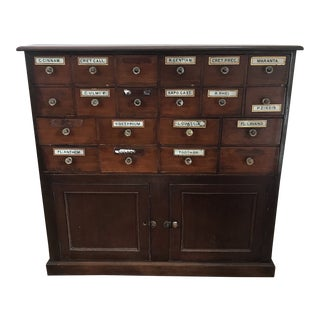 Antique English Apothecary Medicinal Chest/Cabinet With Glass Knobs For Sale