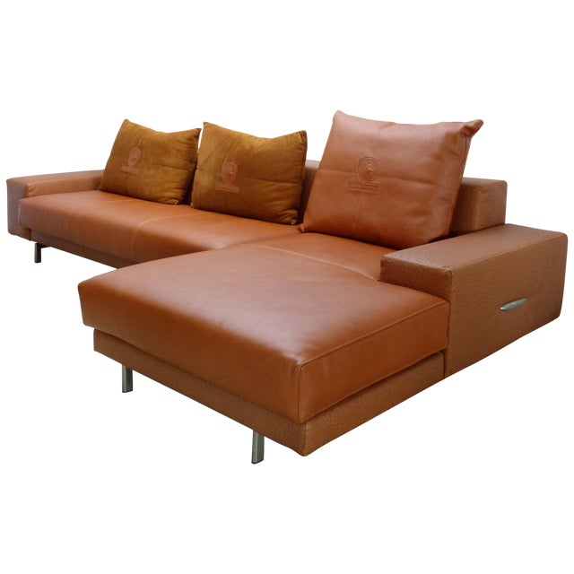 Casa Tonino Lamborghini Pilot Collection Sofa in Leather, Ostrich and Suede For Sale