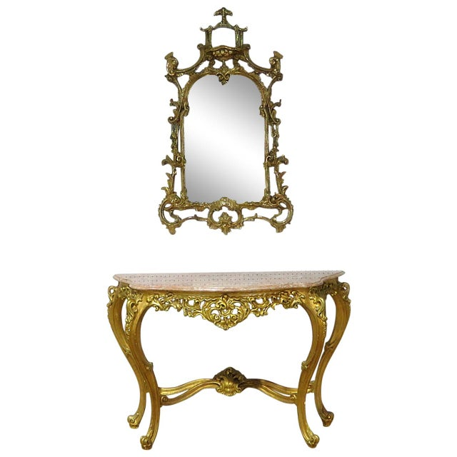 Florentine Style Marble Top Console With Mirror For Sale - Image 12 of 12