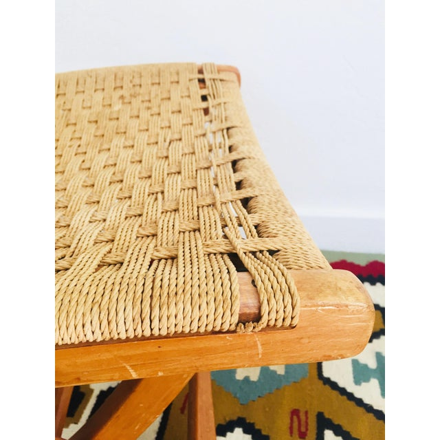 Mid Century Hans Wegner Style Folding Rope Stool For Sale In San Francisco - Image 6 of 10