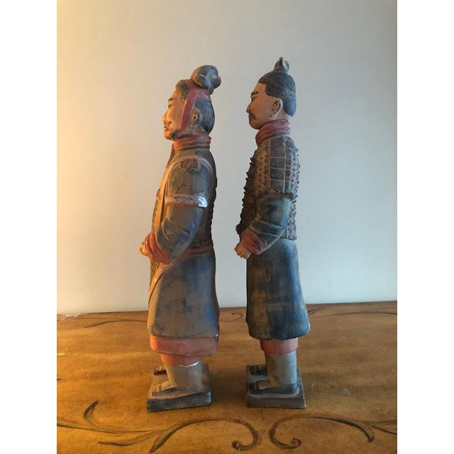 Gorgeous pair of hand painted Chinese terracotta figurines of Emperor Qin She Huang Perfectly beautiful this vintage...