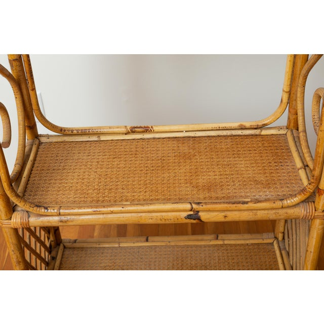 1960s Boho Chic Bamboo and Wicker Rattan Etagere For Sale - Image 9 of 11