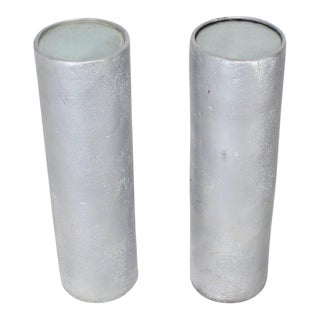 Pair of Round Cylinder Lighted Pedestals Stands