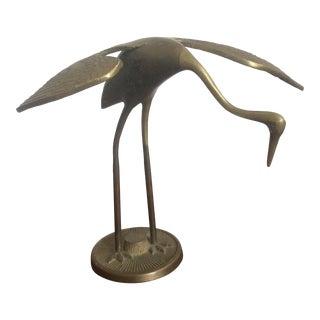 Heron Brass Sculpture For Sale