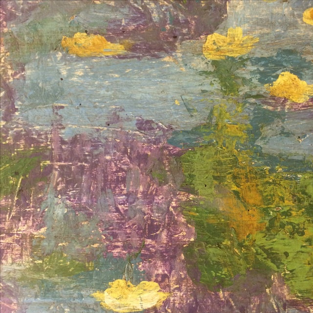 Impressionist Lily Pad Painting - Image 4 of 8