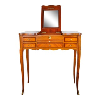 1910 Louis XV French Violet and Rosewood Vanity Table W/ Parquetry Flip Top and Mirror For Sale