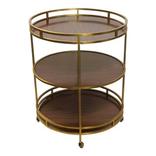 Vintage Henredon Modern Three-Tier Bar Cart For Sale