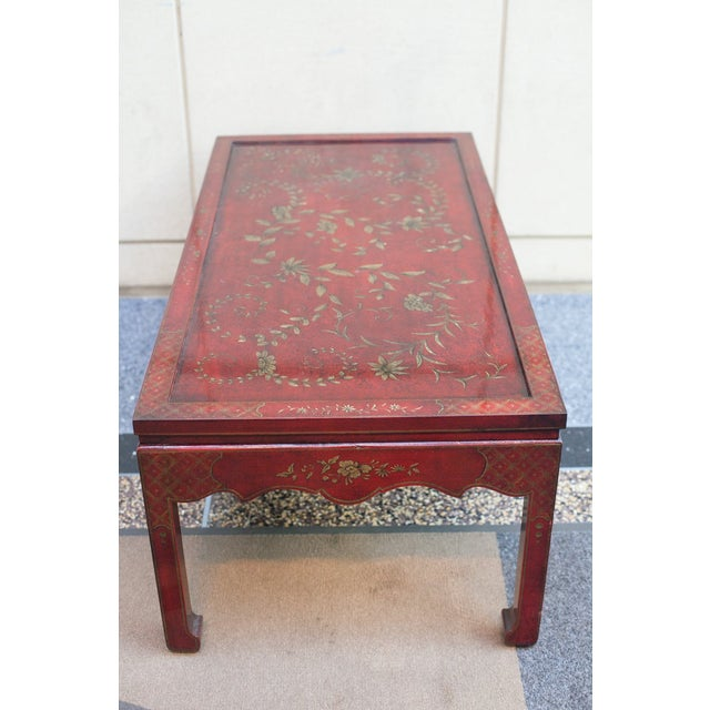 Chinoiserie Burgundy Red Coffee/Cocktail Table With Gilt Floral Design For Sale - Image 4 of 6