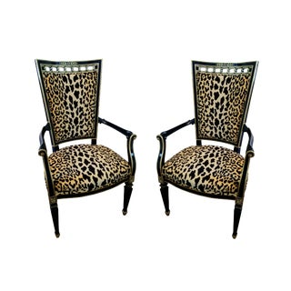 Antique Leopard Velvet and Black Lacquered Occasional Chairs- a Pair