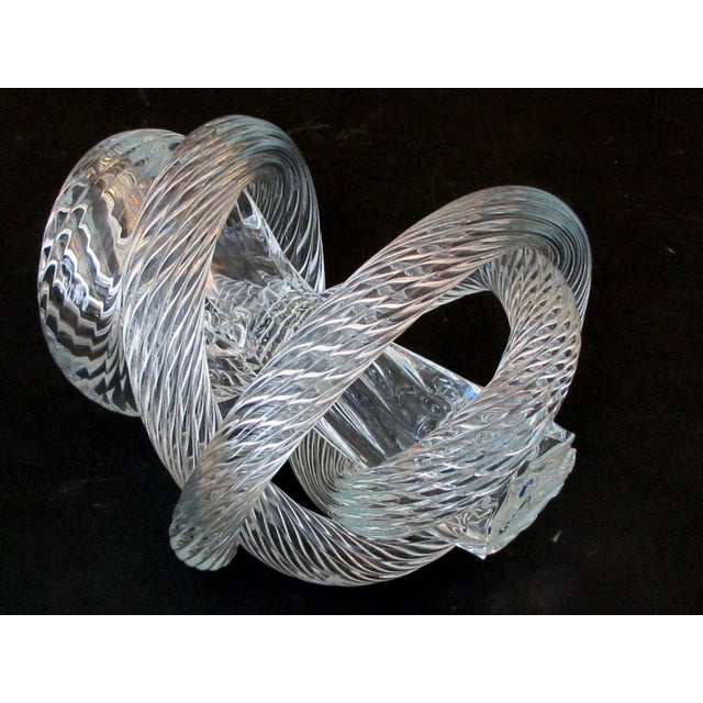 1980s A Well-Crafted and Heavy Glass Rope Knot by Fusion Z Glassworks; With Acid Etched Signature For Sale - Image 5 of 8