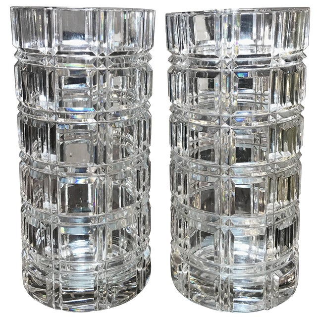 1950s Mid-Century Modern Cut Crystal Cylinder Vases - a Pair For Sale - Image 11 of 11