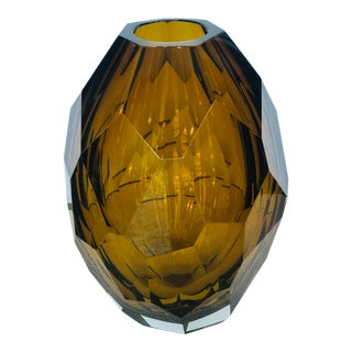 21st Century Amber Murano for Mogul Exclusive Diamond Faceted Crystal Vase by Alberto Dona Medium For Sale