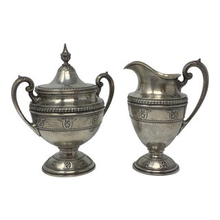 Sterling Silver Wallace Rose Point by Wallace Creamer and Sugar Bowl - a Pair For Sale
