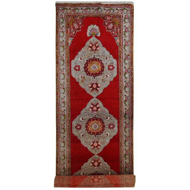 1940s Handmade Vintage Turkish Oushak Runner - 3′7″ × 11′1″ For Sale