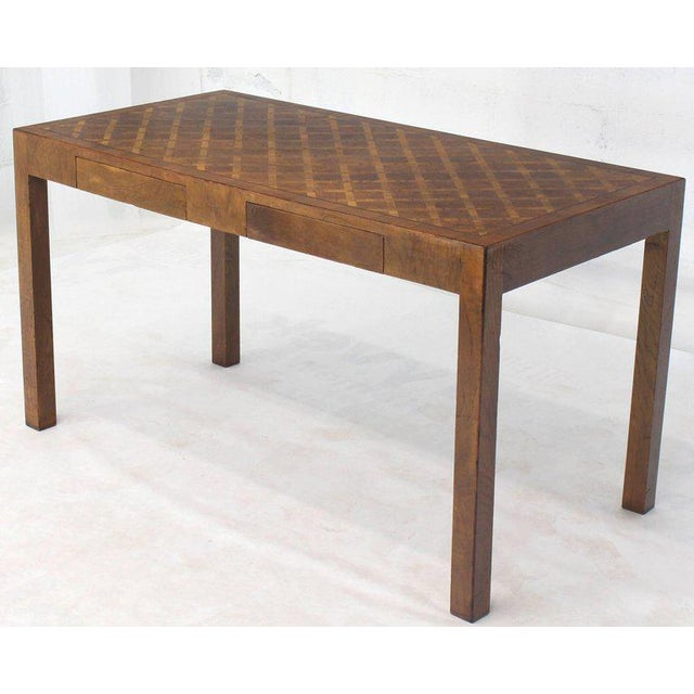 Rosewood Italian Parquet Marquetry Burl Walnut Top Parsons Desk Writing Table Two Drawers For Sale - Image 7 of 10
