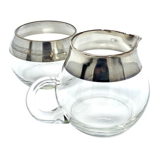 Mid-Century Modern Dorothy Thorpe Roly-Poly Sugar and Creamer 2 Piece Set For Sale