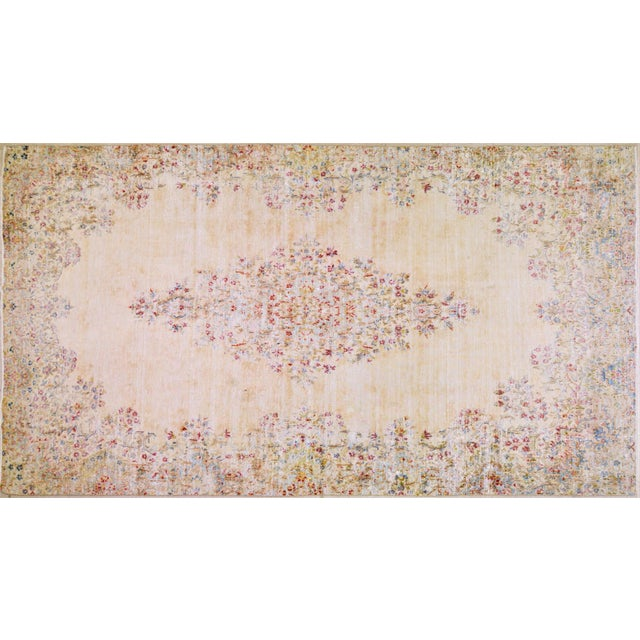 """White Vintage Persian Kerman Hand Knotted Organic Wool Fine Weave Rug,7'8""""x14'1"""" For Sale - Image 8 of 8"""