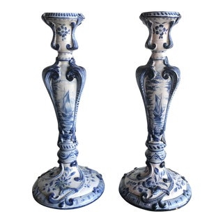 Dutch Delft Candle Holders - A Pair