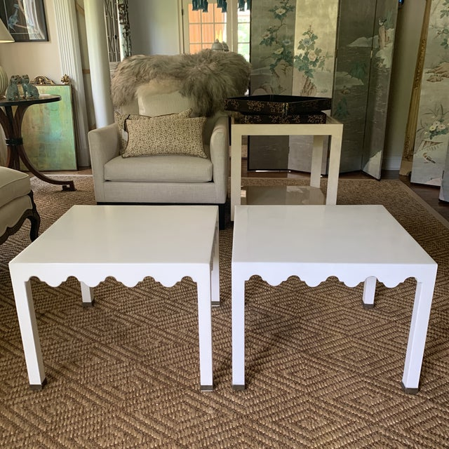 White Lacquered Grass Cloth Moroccan Style Side Tables- a Pair For Sale - Image 10 of 12
