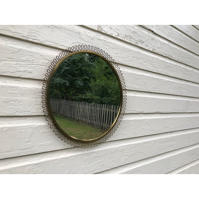 Metal Italian Gio Ponti Inspired Round Brass Mirror For Sale - Image 7 of 11