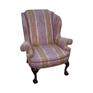 Kindel Winterthur Large Chippendale Ball & Claw Foot Wing Chair For Sale