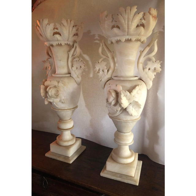 Alabaster Ornate Carved Vases A Pair Chairish