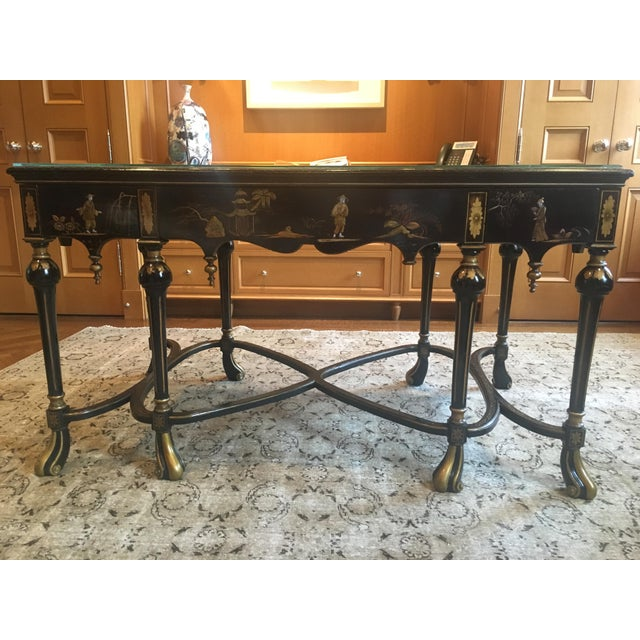 English Chinoiserie Center Hall Table or Desk from the early 19th Century England circa 1840. This beautiful antique desk...