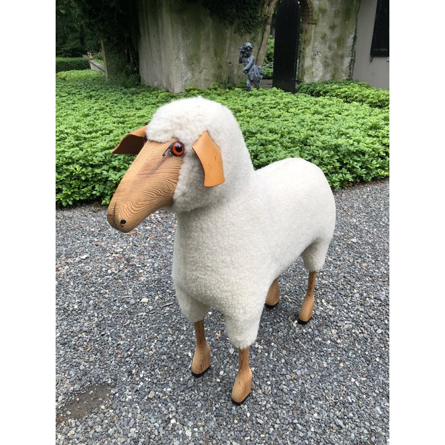 Leather 1970s Vintage Life-Size Sheep Sculpture For Sale - Image 7 of 10