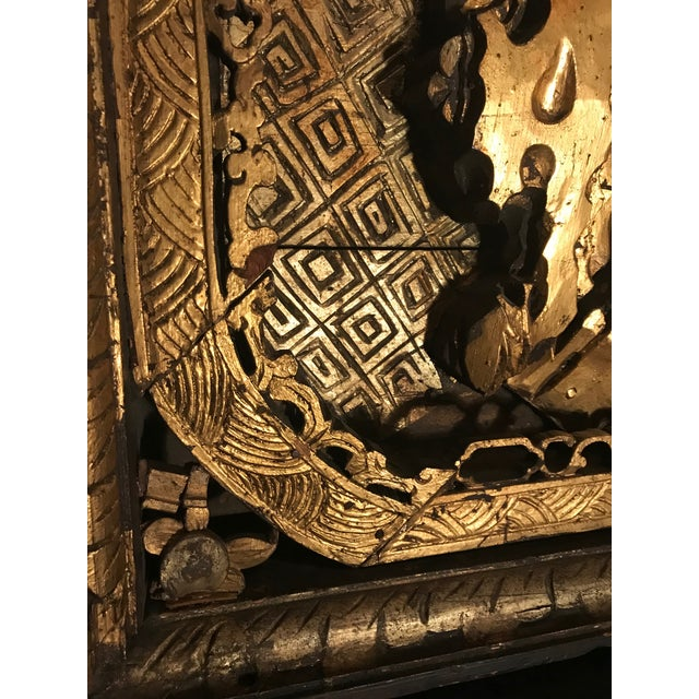 18th Century Antique Qing Chinese Carved Giltwood Temple Wall Panel For Sale - Image 9 of 13