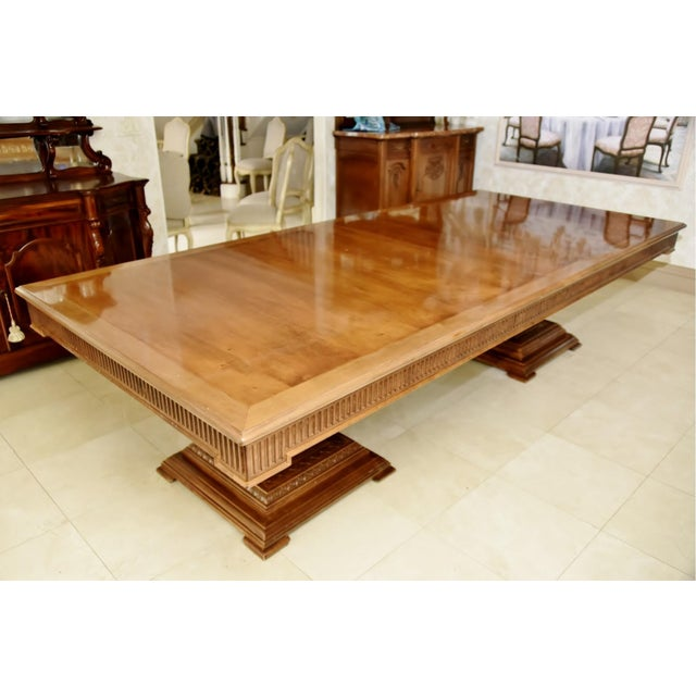 Contemporary Double Pedestal Banquet-Sized Extension Dining Table For Sale - Image 10 of 10