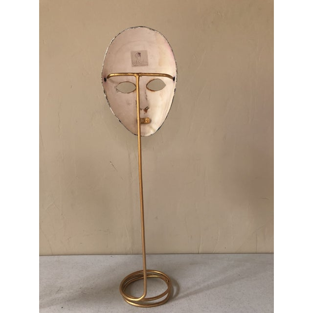 Italian Paper-Maché Mask on Custom Stand For Sale In Richmond - Image 6 of 9