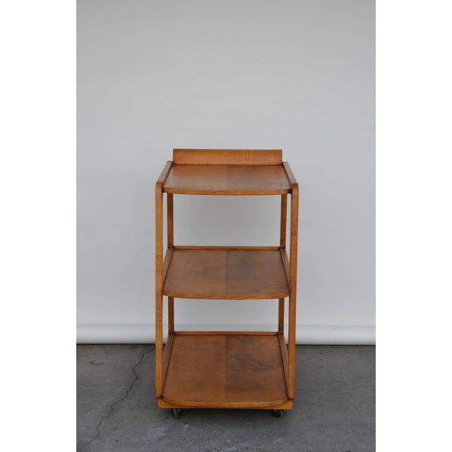 Modern 1940s American Streamline Moderne Maple Bar Cart For Sale - Image 3 of 7