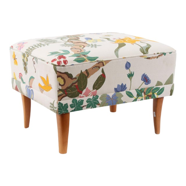 Carl Malmsten original stool and fabric. Fabric is in good condition.