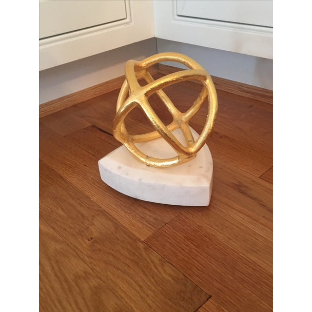 Gold Sphere on Marble Base Art Object - Image 2 of 4