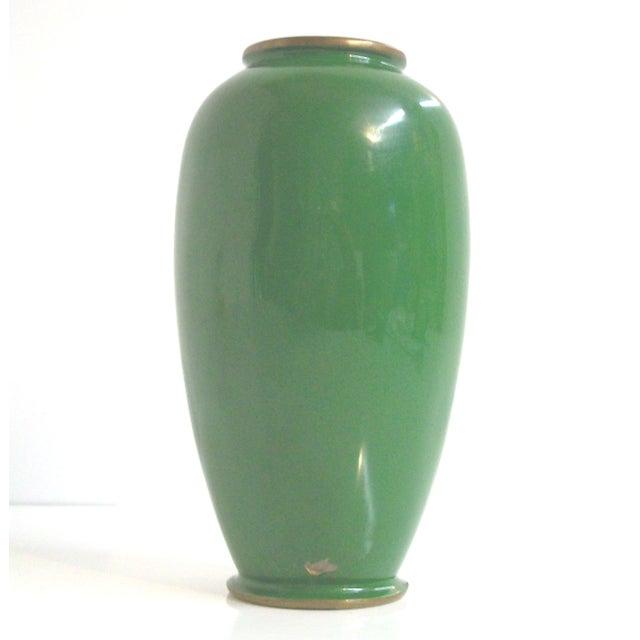 Green Enamelled Chinoiserie Brass Vase - Image 4 of 5