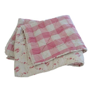 Late 19th Century Antique French Pink Vichy Check Quilt For Sale