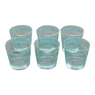 Vintage Turquoise Banded Lowball Glasses - Set of 6