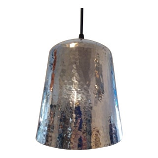 Silver Hammered Brass Bell Pendant Light Industrial Hanging Lamp For Sale