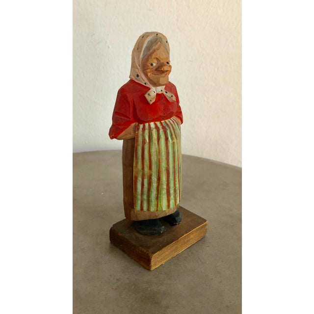 American Vintage Signed Hand-Painted Wooden Grandma Figurine For Sale - Image 3 of 8