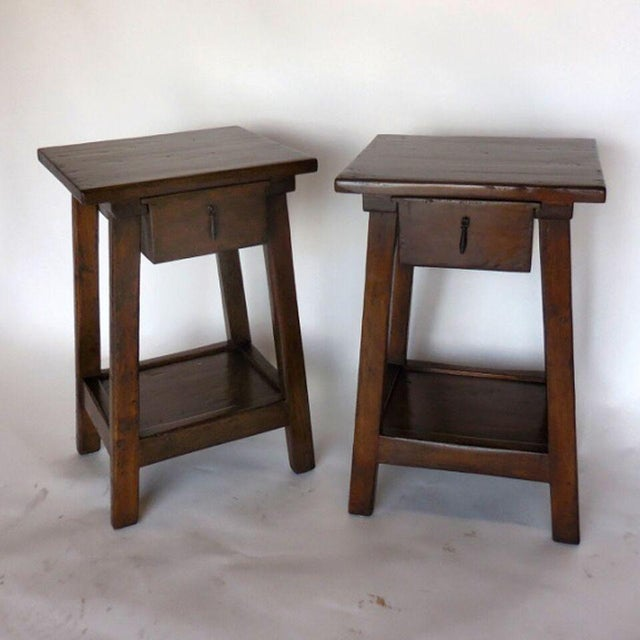 Pair of Custom Walnut Side Tables or Nightstands with Drawer and Shelf - Image 2 of 5