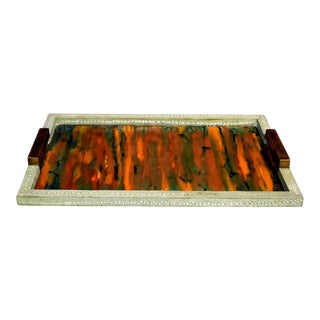 Celadon Shagreen Tray With Handles For Sale