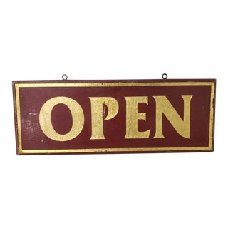 Antique Early 20th Century Double Sided Open Sign For Sale
