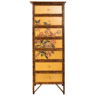 1940s Decoupage Painted Bamboo Lingerie Chest For Sale