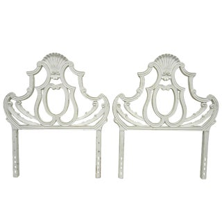 1950s French Cast Aluminum Metal Shell Twin Bed Headboards - a Pair For Sale