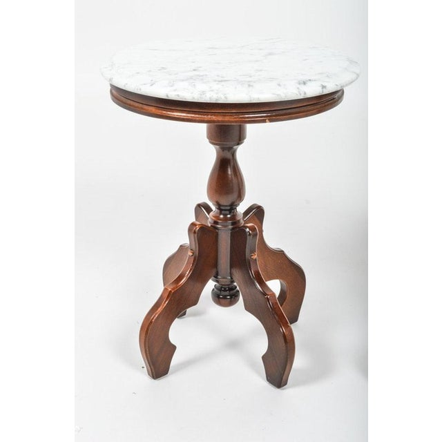 Italian Marble-Top Accent Side Tables - a Pair For Sale - Image 9 of 12