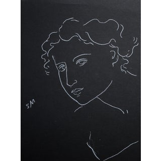 "Sarah Myers ""Woman Leaning Forward"" Minimalist Inspired Charcoal Drawing For Sale"